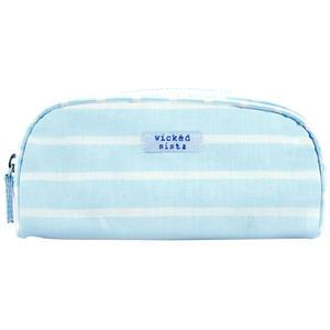 WS Beach Stripe Light Blue Smal Round Top Case - Kosmetiktasche