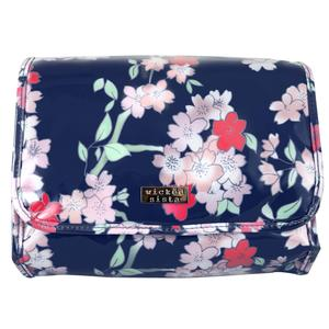 WS Lyrical Blooms Navy Fold Out Bag with Hook - Kosmetiktasche
