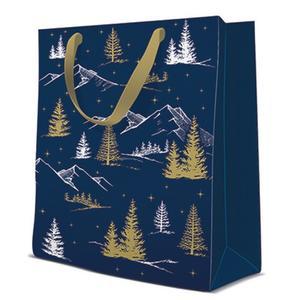 Geschenktasche Weihnachten Medium 20x10x25cm Forest View blau