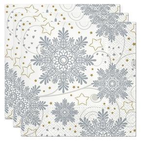 Servietten, Papier 3-lagig, 33x33cm, 3x20 Stück Weihnachten Snowflakes silver