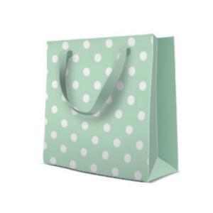 Geschenktasche Quadrat 17x17x6cm, Dots mint