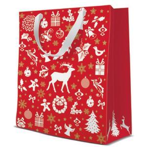 Geschenktasche Weihnachten Medium 20x10x25cm Celebrate Christmas red