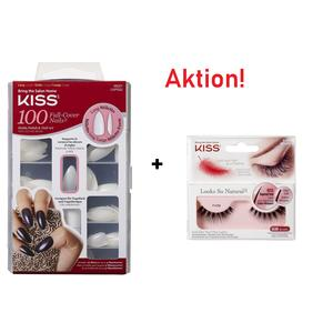 Aktion! 100 Full Cover Nails Long Stilettos + Wimpern