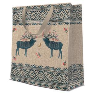 Geschenktasche Weihnachten Medium 20x10x25cm Ethno Deers