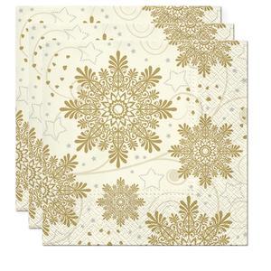 Servietten, Papier 3-lagig, 33x33cm, 3x20 Stück Weihnachten Snowflakes gold