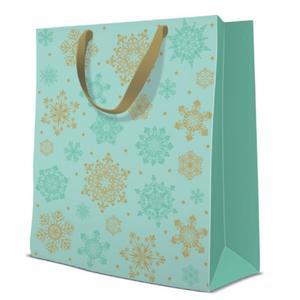 Geschenktasche Weihnachten Large 26,5x13x33,5cm Snowflakes Glamour