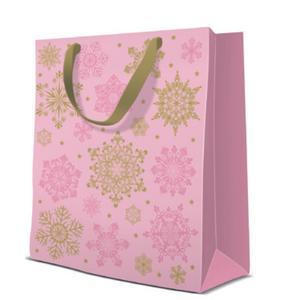 Geschenktasche Weihnachten Medium 20x10x25cm Snowflakes Glamour pink