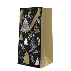 Geschenktasche Weihnachten Narrow 10x7x22cm Christmas Tree Stamps