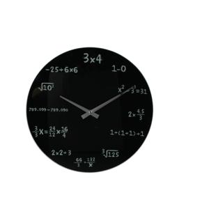 Wanduhr Mathematik schwarz
