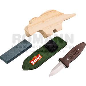 Scout Schnitz-Set inkl. Schnitzmesser aus rostfreiem Edelstahl mit Holzgriff, Holzrohling, Schleifstein und Nylonetui, nicht nach EN71