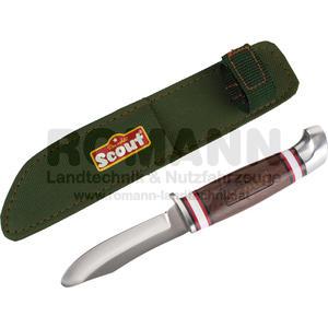 Scout Schnitzmesser mit abgerundeter Spitze, aus rostfreiem Edelstahl, Holzgriff, im Nylonetui, mit Gürtelschlaufe