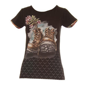 FLOWERD BOOTS S/S T-SHIRT LADIES