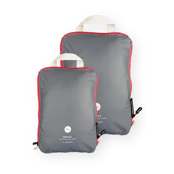 Packtaschen mit Kompression, Koffer-Organizer, Packing Cubes, grau, ultraleicht, wasserabweisend, Set M L