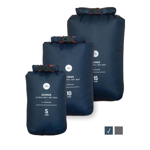 Dry-Bag Set, Trockensack, 5l, 10l, 15l Ultra-Light, blau, wasserdicht