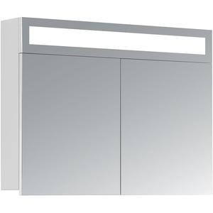 HAPA Design Spiegelschrank Miami weiß mit LED Beleuchtung und Innenbeleuchtung (80 x 60 x 14 cm)