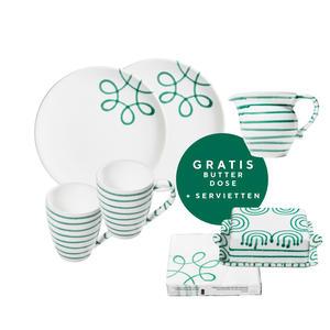 Pur Geflammt Grün, Starter Set Frühstück Kaffee