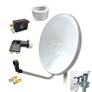 60 cm Digital HD Sat Anlage Twin LNB Satfinder 20m Kabel 2 Teilnehmer Antenne 4K