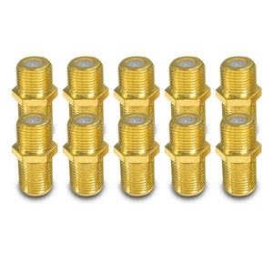 F Verbinder Sat vergoldet 10 Kupplung Buchse Verbindung Stecker Doppel Adapter