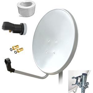 80 cm HD Sat Anlage Single LNB + 10 m Kabel Koaxialkabel 135 db Antenne UHD digital Schüssel Spiegel 80cm F - Stecker vergoldet 1 Teilnehmer ARLI