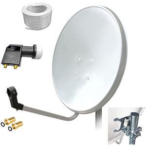 60cm HD Sat Anlage Twin LNB + 15m Koaxialkabel 135dB + 2 F-Stecker Digital 2 Teilnehmer Antenne Weiss UHD 4K