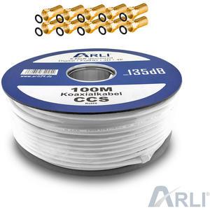 ARLI Koaxialkabel 100m 135dB inkl. 10 F-Stecker [Gold] HD 4K UHD 3D