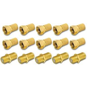 HD F Stecker Verbinder vergoldet Verbindungsset 10 x F-Stecker 7 - 7,5 mm 5 x F-Verbinder Verbindung Sat Kabel Kupplung