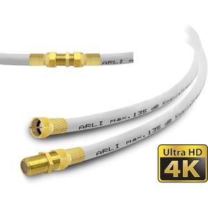HD Verlängerungskabel 2 m Anschlusskabel vergoldet TV Satkabel 135 dB 5 fach geschirmt Sat konfektionierte Koaxialkabel Koax Kabel Digital Antennenkabel 4K ARLI