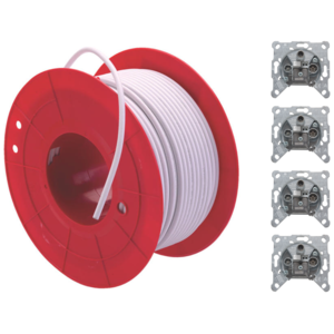 Triax Stichleitung Combo | 100m Rolle Triax Koax Kabel Koka F6 Plus | 4x Triax EDA 302 F Antennensteckdose