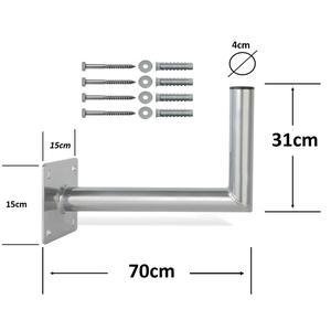 70cm SAT Wandhalter Stahl verzinkt Schüssel Halterung Wandhalterung inkl. Schrauben- & Dübelset