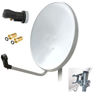 80 cm HD Sat Anlage Single LNB Antenne UHD digital Schüssel Spiegel 80cm F - Stecker 1 Teilnehmer ARLI