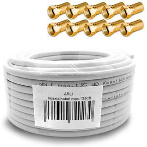 HD Sat Kabel 20 m Koaxialkabel 135 dB + 10 x F-Stecker vergoldet Koaxial 5-fach geschirmt Satkabel TV Antennenkabel Koax 4K gold ARLI