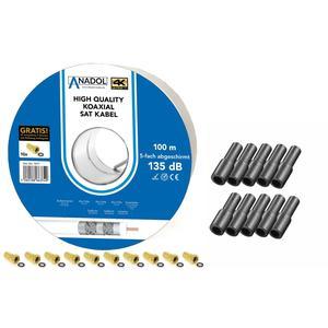 100m Koaxialkabel 135 dB 4-fach geschirmt CCS Kupfer-Stahl + Gummidichtung für LNB Gummitülle + F-Stecker