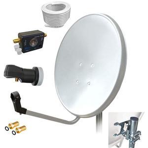 80 cm HD Sat Anlage Single LNB + 10 m Kabel Koaxialkabel 135 db + Satfinder Antenne UHD digital Schüssel Spiegel 80cm F - Stecker vergoldet Set 1 Teilnehmer ARLI