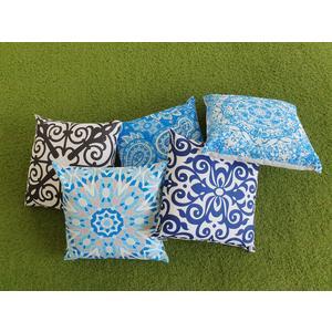 Outdoor Kissen mit Füllung 45x45, wasserabweisend für draußen und für die Sauna, Dekokissen, weiß-blau, Marine, Ornament, Mandala, Bohemien, Yoga-style