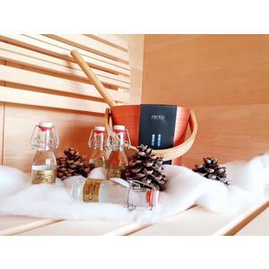 Geschenkset: Saunaeimer & Saunaaufgüsse; Weihnachtsgeschenk für Saunafans, Saunakübel von Rento, Saunadüfte für den Aufguss