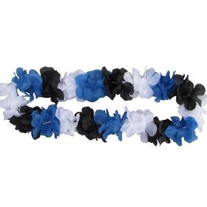 Blumenkette blau/weiß/schwarz