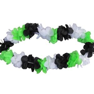 Blumenkette schwarz/weiß/grün