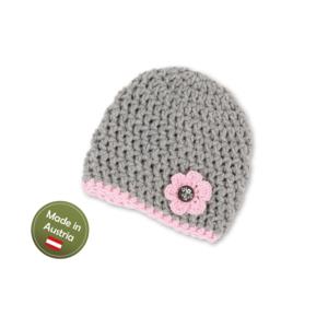 Mütze mit Blume Baby Mädchen Kinder handgestrickt Tracht Grau Rosa