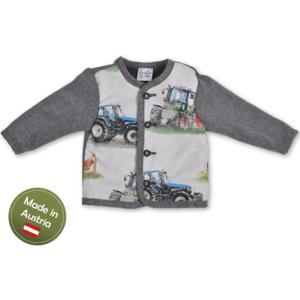 Trachten Jacke Traktor Baby Buben Kinder Weste Grau