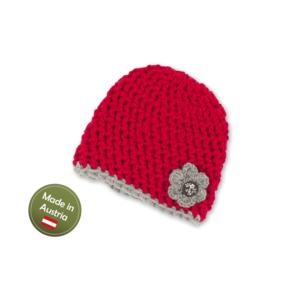 Mütze mit Blume Baby Mädchen Kinder handgestrickt Tracht Rot Grau
