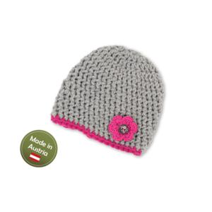 Mütze mit Blume Baby Mädchen Kinder handgestrickt Tracht Grau Pink