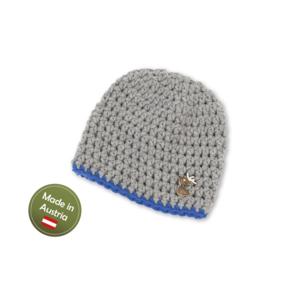 Mütze mit Hirsch Baby Buben Kinder handgestrickt Tracht Grau Blau