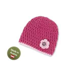 Mütze mit Blume Pink Baby Mädchen Tracht handgestrickt