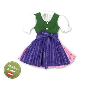 Dirndl mit Bluse und Schürze Ausseer Mädchen Baby Kinder Grün Rosa Violett