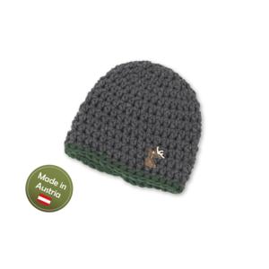 Mütze mit Hirsch Baby Buben Kinder handgestrickt Tracht Grau Grün