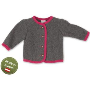 Trachten Jacke Baby Mädchen Kinder Strick Weste Grau Pink