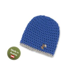 Mütze mit Hirsch Baby Buben Kinder handgestrickt Tracht Blau Grau