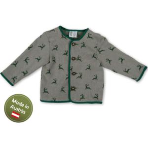 Trachten Jacke mit Hirschen Baby Buben Kinder Weste Grau Grün