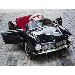 Kinderfahrzeug 12V Kinder Elektro Auto BMW Oldtimer 507 Roadster MP3 USB Ledersitz EVA Gummiräder schwarz 2,4 GHZ
