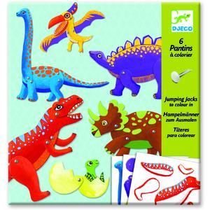 Dinosaurier Hampelmänner zum Ausmalen